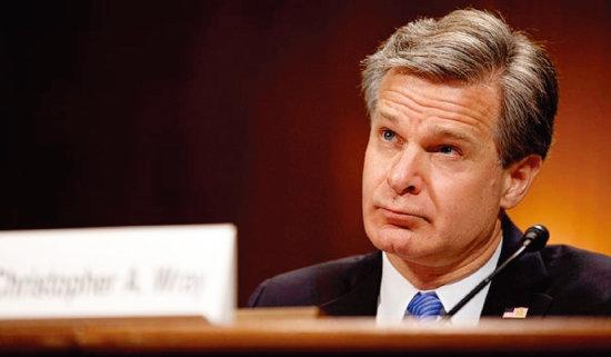 크리스토퍼 레이 미국 FBI 국장이 상원 정보위원회에서 중국의 스파이 활동을 증언하고 있다. [더힐]