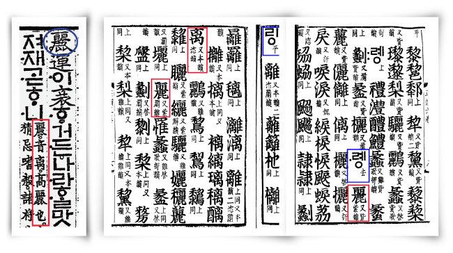 15세기 '용비어천가'에서 麗를 리(离)로 발음하라는 한문주석(왼쪽)과 18세기 '전운옥편'에서 麗를 거성 '례'와 평성 '리'로 발음을 구별한 본문. [사진 제공 · 서길수 교수]