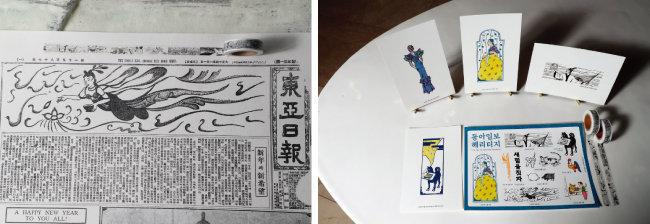 동아일보의 과거 신문(1920~1959)에 나온 삽화를 사용해 만든 마스킹테이프(왼쪽). 동아일보 삽화 헤리티지를 활용해 제작한 뉴트로 풍의 엽서와 스티커, 마스킹테이프가 한국의 상에 놓여 있다. [박영대 동아일보 기자]