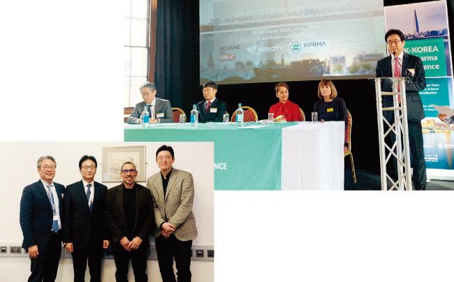 2019년 11월 15일 영국 케임브리지에서 열린 '한영 제약바이오 네트워킹' 행사에서 허경화 한국제약바이오협회 부회장, 원희목 한국제약바이오협회 회장, 토니 쿠자라이드 밀너 세러퓨틱스 컨소시엄 원장, 한남식 밀너 세러퓨틱스 컨소시엄 AI연구센터장(왼쪽부터)이 기념 촬영을 하고 있다(아래). 2019년 11월 14일 영국 런던에서 한국제약바이오협회와 메드시티 등 4개 기관이 공동주최한 '한영 바이오파마 콘퍼런스'에서 원희목 한국제약바이오협회 회장이 인사말을 하고 있다.