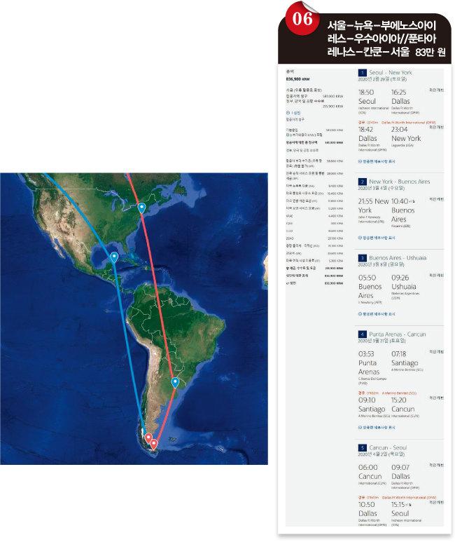 서울-뉴욕-부에노스아이레스-우수아이아//푼타아레나스-칸쿤-서울 여행 경로. [아메리칸항공 홈페이지]