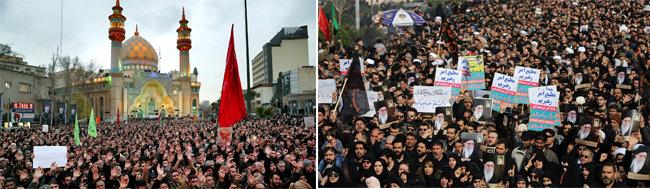 이란 국민들이 수도 테헤란에서 솔레이마니 사령관을 애도하고 있다(왼쪽). 이란 국민들이 수도 테헤란에서 미국에 대한 보복 공격을 요구하며 시위하고 있다. [ISNA, Anadolu]
