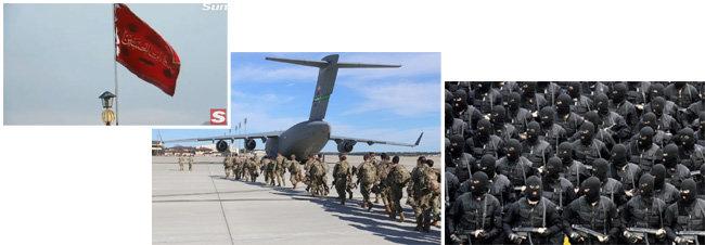 (왼쪽부터)이란 시아파 성지 콤시의 잠카런 모스크에 보복을 상징하는 붉은 깃발이 걸려 있다. 미육군 제82공수사단의 신속 대응부대가 이라크 행 수송기에 탑승하고 있다. 이란 혁명수비대의 해외공작을 담당하는 알 쿠드스 대원들. [사진출처=이란 국영방송, US Army, iranbriefing. net]
