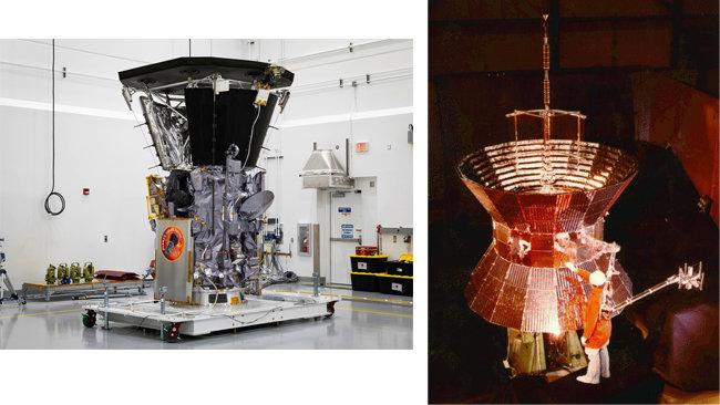 사진 파커 태양 탐사선(왼쪽). 1976년 발사된 태양타맛선 헬리오스2 [사진제공=NASA]