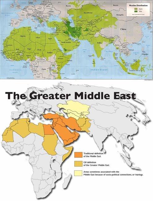 이슬람국가 분포도(위). 중동의 확대-전통적 중동(주황), 확장된 중동(갈색), 중동과 연계된 지역(귤색) [월드아틀라스]