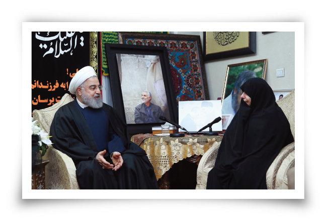 하산 로하니 이란 대통령(왼쪽)과 가셈 솔레이마니 사령관의 딸. [AP=뉴시스]