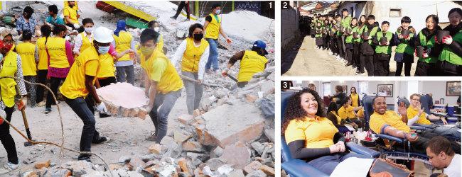 1 네팔에서 지진으로 무너진 건물 잔해를 치우며 복구작업을 펼치는 하나님의 교회 신도들. 2 방학 기간에 연탄 배달로 이웃 돕기에 나선 하나님의 교회 학생들. 하나님의 교회는 다양한 봉사 활동을 통해 학생들에게 올바른 인성 함양의 기회를 제공하고 있다. 3 미국 워싱턴DC, 볼티모어, 필라델피아에 있는 하나님의 교회 신자들이 생명이 위급한 이들을 돕고자 헌혈에 동참하고 있다. [사진 제공 · 하나님의 교회]