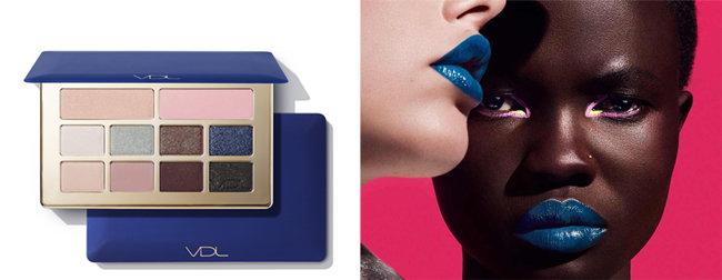 VDL 블루 아이 메이크업 제품과 블루 립 룩.