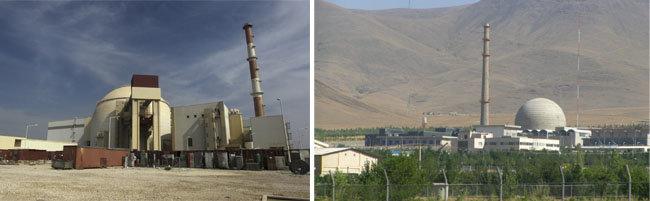 이란 아라크에 있는 중수로의 모습(왼쪽). 이란이 운영하고 있는 부셰르의 원자력 발전소 모습. [위키피디아, MEHR New Agency]