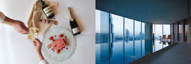 패키지 이용객에게 제공되는 선물들, 호텔 24층에 자리한 실내 수영장(왼쪽부터). [사진제공=파크 하얏트]