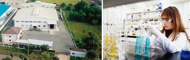 베트남 호치민의 공장 외부 전경(왼쪽)과 인천 본사에 위치한 연구소.