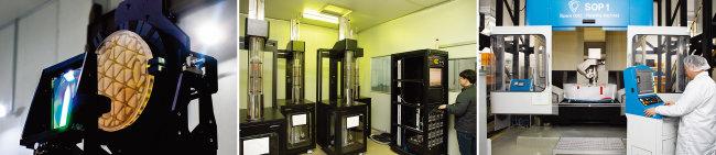 대형 비축비구면 미러. 신소재 개발 중인 ㈜그린광학 연구소. 최첨단 광설비 시설을 갖춘 ㈜그린광학(왼쪽부터).