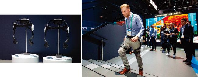 미국 라스베이거스에서 열린 세계 최대 전자제품 박람회 CES 2020에서  삼성전자 전시관을 방문한 관람객이 웨어러블 보행 보조 로봇 '젬스(GEMS)'를 체험하고 있다. [사진 제공 · 삼성전자]