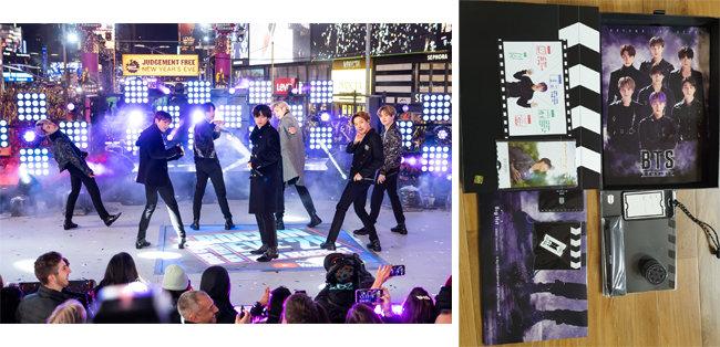 2019년 12월 31일 미국 뉴욕에서 공연 중인 BTS. 오른쪽은 BTS 팬클럽 특전.[AP=뉴시스, 유아미]