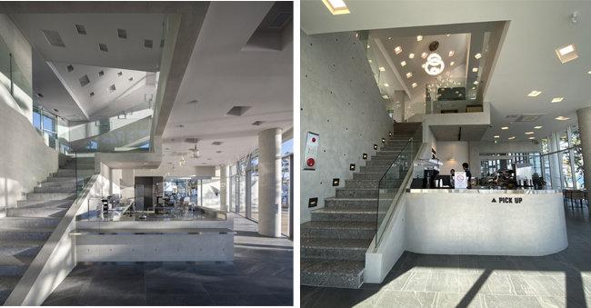 웨이브온 1층 홀 및 바테이블(왼쪽). ㅇ커피 1층 홀 및 바테이블. [사진제공=이뎀건축사사무소]