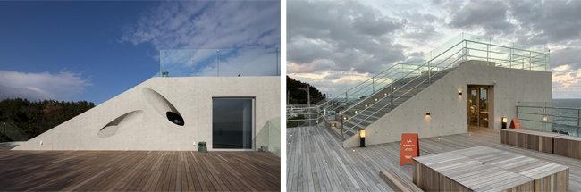 웨이브온 지붕층(왼쪽). ㅇ커피 지붕층. [사진제공=이뎀건축사사무소]