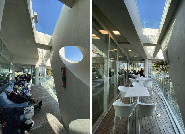 웨이브온 2층 발코니(왼쪽). ㅇ커피 2층 발코니. [사진제공=이뎀건축사사무소]