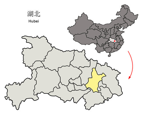 우한시 지도. [위키피디아]