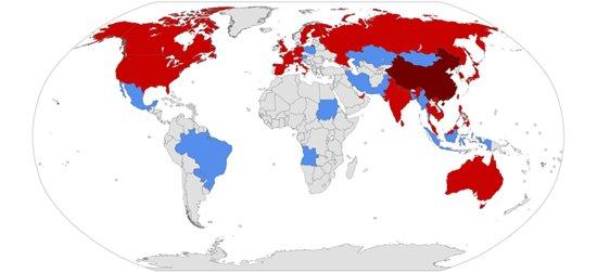 코로나19 최초발생지역 확진자발생국가 의심자발생국. [위키피디아]