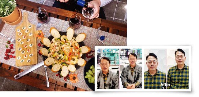 소노호텔&리조트 리버스 멘토링 참가자들이 공유주방을 체험한 후 만든 음식을 맛보고 있다(위). 멘티로 참가한 박종균 소노캄 총지배인의 달라진 헤어스타일. [사진 제공 · 소노호텔&리조트]