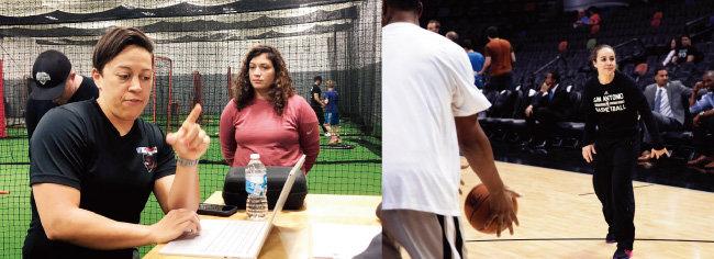 지난해 11월 시카고 컵스 루키 레벨팀 코치로 선임된 레이철 폴든(왼쪽)과 2014-2015 시즌을 앞두고 샌안토니오 스퍼스에서 NBA 역사상 첫 번째 풀타임 여성 코치가 된 베키 해먼. [레이철 폴든 트위터, GettyImages]