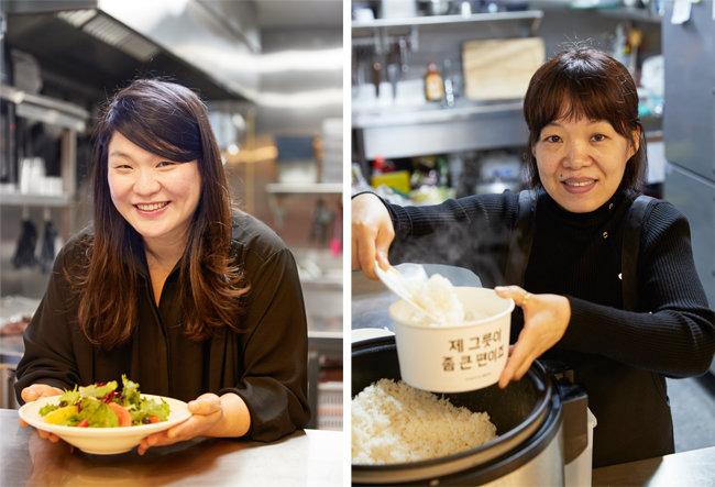 공유주방 창업자인 노유호 '딜리셧부띠끄' 사장(왼쪽)과 지복자 '서울숲쭈꾸미' 사장. [홍중식 기자]