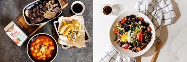 공유주방에서 창업한 배달 전문식당 '달떡볶이' '딜리셧부띠끄'의 음식들(왼쪽부터).  [사진 제공·고스트키친]