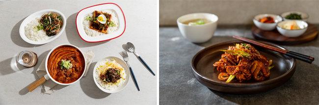 공유주방에서 창업한 배달 전문식당 '밥투정' '서울숲쭈꾸미'의 음식들(왼쪽부터).  [사진 제공·고스트키친]