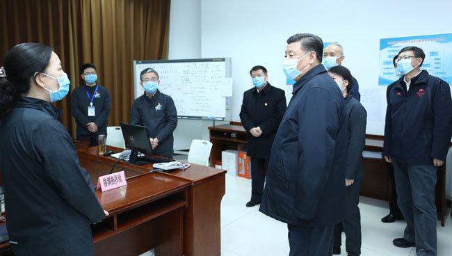 시진핑 중국 국가주석이 2월 10일 오후 베이징 병원 등을 찾아 코로나19 예방·통제 업무를 지도했다고 중국 '신화통신'이 보도했다. [신화=뉴시스]