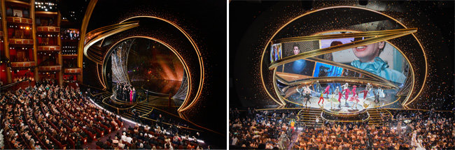 아카데미 시상식 작품상 수상으로 무대에 오른 '기생충' 제작진(왼쪽). 2020년 아카데미 시상식 무대. [스와로브스키]