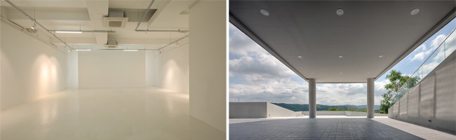 갤러리 전시공간(왼쪽).  1층 필로티 기둥 아래 카페공간. [포스트픽, 김재윤 작가]