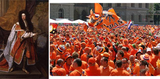 영국왕 윌리엄3세의 초상화. 프랑스 오랑주공국과 네덜란드 그리고 영국왕을 겸한 그는 신교도의 보호자로서 오렌지색 의상을 입고 있다(왼쪽). 오렌지색 의상을 입고 축제를 벌이는 네덜란드인들. [National Portrait Gallery, flickr Martin Abegglen 제공]
