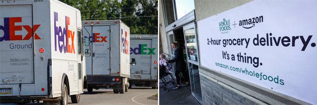 대형 물류회사 페덱스의 배송 트럭(왼쪽)과 아마존이 최근 개시한 2시간 신선식품 배달 서비스를 안내하는 표지판. [AP=뉴시스]