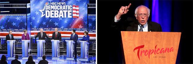 미국 민주당의 대선 경선주자들이 2월 21일 TV 토론회를 하고 있다(왼쪽). 버니 샌더스 상원의원이 네바다주 라스베이거스에서 지지자들에게 연설하고 있다. [NBC, flickrs]