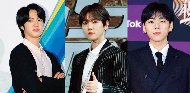 연내 입대가 유력한 1992년생 아이돌 가수들. 방탄소년단 진, EXO 백현, 블락비 출신의 지코(왼쪽부터). [뉴스1]