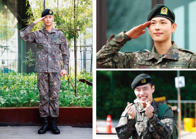 지난해 군복무를 마치고 전역한 배우 김수현, 임시완, 강하늘(왼쪽부터 시계 방향으로). [키이스트, 뉴스1]