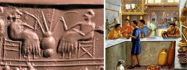 맥주에 빨대를 꽂아 마시는 모습이 새겨진 메소포타미아의 기록(왼쪽)과 로마시대 술집 타베르나 삽화. [Acient Pages, Capitolivm]