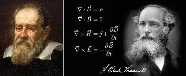 갈릴레오 갈릴레이(왼쪽). 제임스 클러크 맥스웰과 맥스웰 방정식.  [영국 국립해양박물관, Science Meets Faith·SMF]