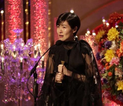 3월 6일 일본 아카데미상 최우수여우주연상 수상소감을 밝히며 울먹이는 배우 심은경. [일본 아카데미상협회]