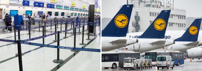미국 시카고 오헤어국제공항 출국장이 코로나19 사태로 텅 비어 있다(왼쪽).  독일 루프트한자 여객기들이 코로나19 여파로 항공편이 취소되자 공항에 대기하고 있다. [CNN, DPA]