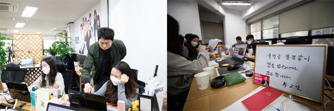 3월 11일 서울 종로구 중학동의 황교안 후보 선거캠프에서 홍보팀 요원들이 콘텐츠 제작을 하고 있다(왼쪽).