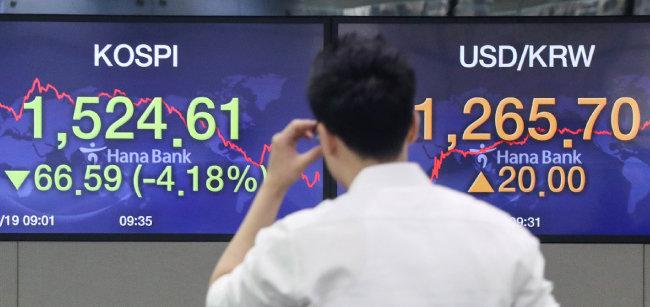 코로나19 사태로 금융시장은 물론, 실물경제까지 한국 경제 전반에 큰 충격이 불가피하다는 분석이 많다. 3월 19일 코스피지수와 코스닥지수가 동반 8%대 폭락중이다. [뉴시스]