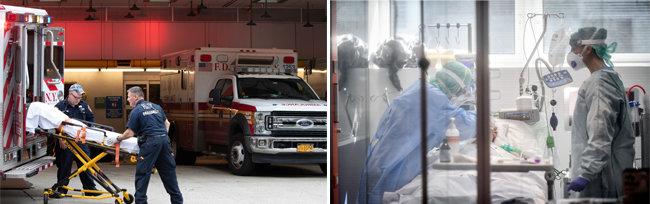 코로나19 응급환자를 병원으로 이송한 구급 대원들(왼쪽)과 이탈리아 롬바르디아주의 한 병원 집중치료실에서 코로나19 환자를 돌보는 의료진. [뉴시스]