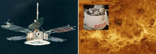 사진2 미국 매리너 5호 탐사선(왼쪽).  옛 소련 베네라 7호와 금성표면 [NASA]