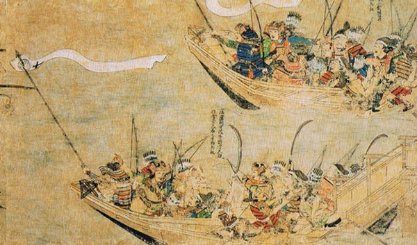 여몽연합군에 맞서 해전을 벌이는 일본군을 그린 '몽고습래회도(1293)'. 1350년 이후 고려를 침공한 왜구는 일본 남조 정부군이었다는 점에서 이와 비슷했을 가능성이 크다 [위키피디아]