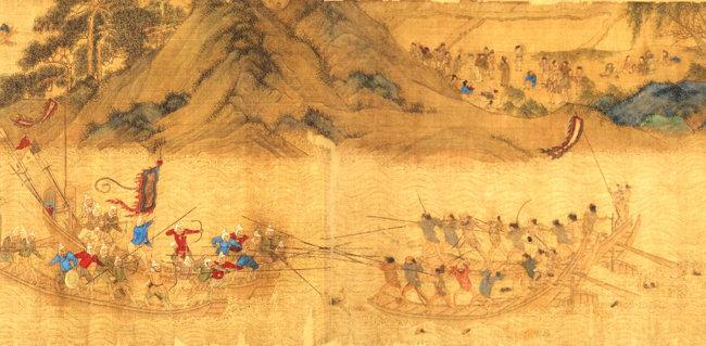 중국 명대 원작을 모사한 것으로 추정되는 '왜구도권' 중 명군(왼쪽)과 왜구의 해전도 [도쿄대사료편찬소]