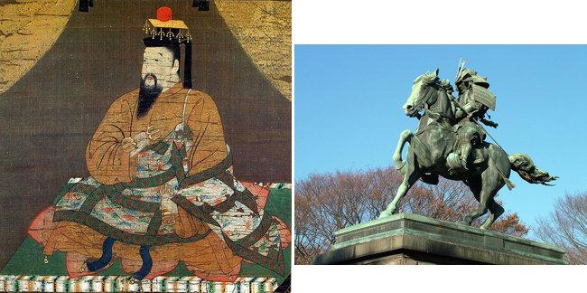 일본 남북조 시대 남조를 연 고다이고 일왕의 초상화(왼쪽). 일본 메이지유신의 주역들이 자신들과 동일시한 구스노키 마사시게의 동상 [Monkan-bō Kōshin, David Moore]