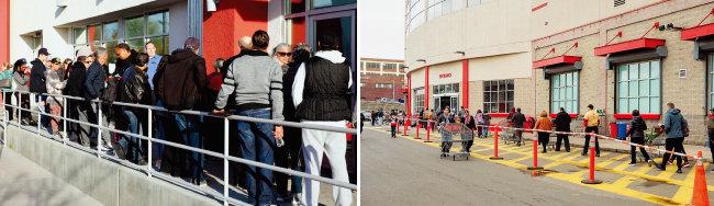 미국 실업자들이 실업수당을 신청하기 위해 순서를 기다리고 있다(왼쪽). 미국 시민들이 식료품을 사고자 한 쇼핑몰 앞에 줄을 서 있다. [Las Vegas RJ, 위키피디아]