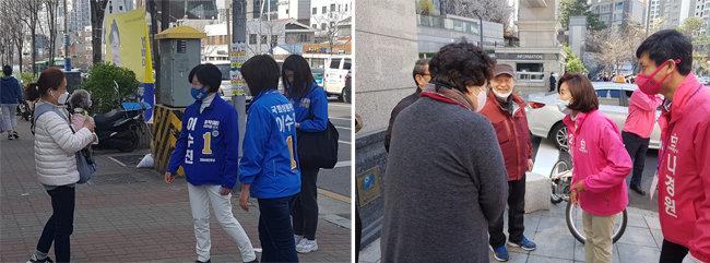 이수진 더불어민주당 후보(왼쪽)와 나경원 미래통합당 후보가 서울 동작구 상도1동에서 주민들과 인사를 나누고 있다. [최진렬 기자]