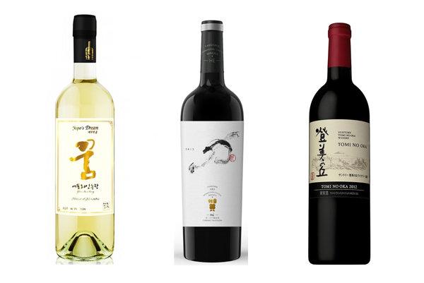 한중일 3개국에서 자국 포도로 생산한 고급 와인시장이 넓어지는 추세다. 왼쪽부터 한국, 중국, 일본의 와인. [각 업체]